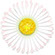Closeup square graphic of a light pink daisy with yellow center on white background.