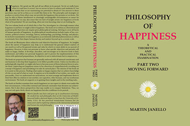 Front, spine, back cover of Philosophy of Happiness Part One paperback. Black and red writing on light green background with white daisy.